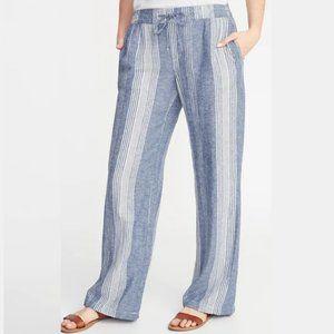 Old Navy Blue & White Stripe Wide Leg Linen Pants